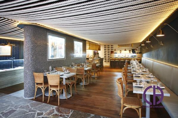 دکور رستوران، میز رستوران کورین، اجرای دکور رستوران با صفحات کورین، کوارتز