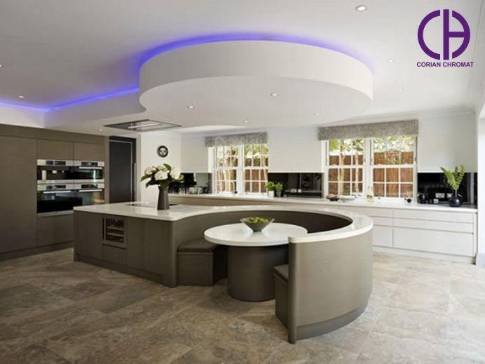 صفحه کابینت کورین، طراحی آشپزخانه مدرن، سنگ مصنوعی کابینت