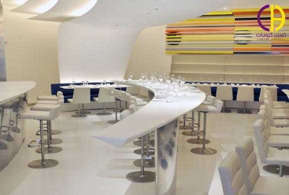 طراحی دکوراسیون رستوران ، میز کورین