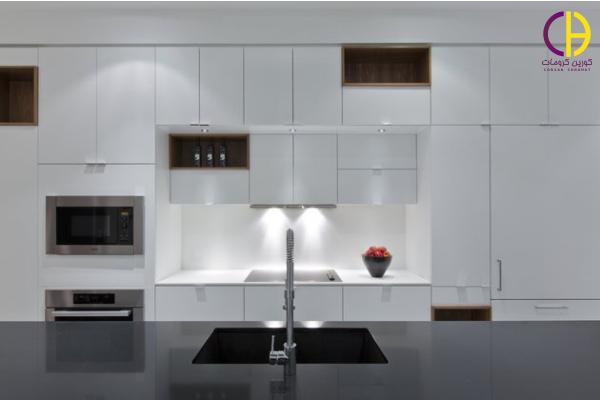 طراحی داخلی آپارتمان ، سنگ روی کابینت کورین