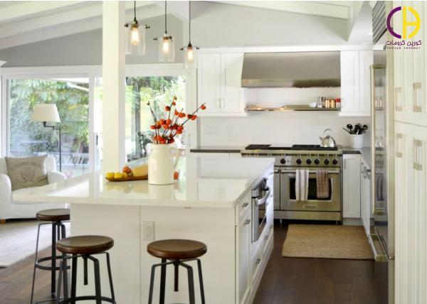 صفحه کابینت کوارتز ، اجرای کوارتز ، آشپزخانه سفید