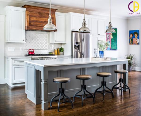 آشپزخانه سفید ، کابینت سفید ، صفحه روی کابینت کوارتز