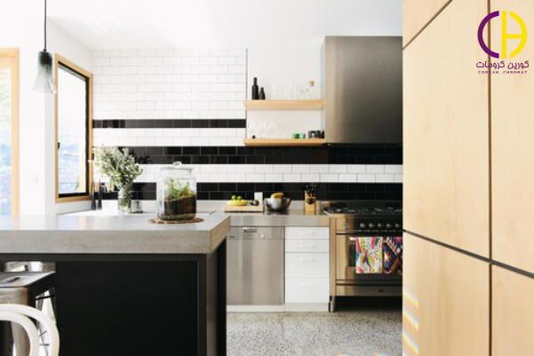 رنگ سیاه در دکوراسیون آشپزخانه ، صفحه روی کابینت سیاه
