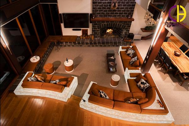 طراحی دکوراسیون اتاق نشیمن با سنگ کورین